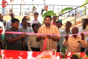 Mahadev, District Deputy Manager, NABARD inaugurating the Farmers' Mart at Hulgur