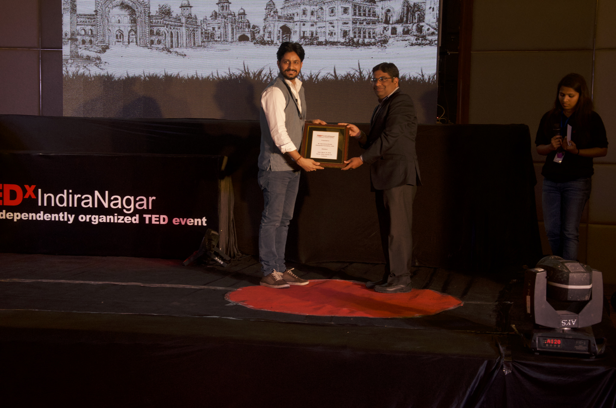 Mr. Ajay Kumar Shukla, receiving citation from Mr. Akshay Marketing Manager, ICICI Prudential, Lucknow