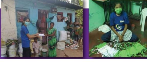 Deshpande staff work in communities to distribute food